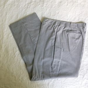 Ann Taylor Loft Seersucker Navy Julie Pants 16